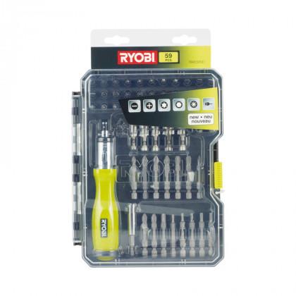 Набор бит и торцевых головок с отверткой 59 предметов Ryobi RAK59SD