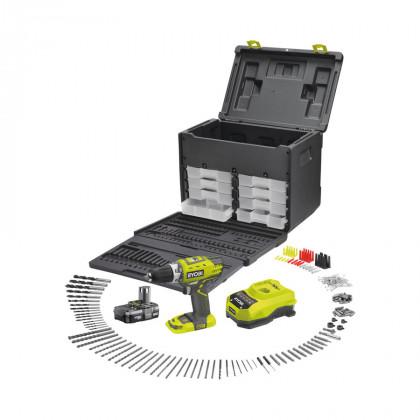 Дрель-шуруповерт аккумуляторная Ryobi RCD18021A206 с 206 принадлежностями
